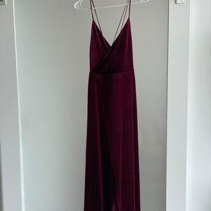 NWT fashion nova burgundy velvet dress long split